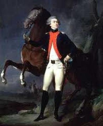 Marquis de Lafayette arreives in colonies