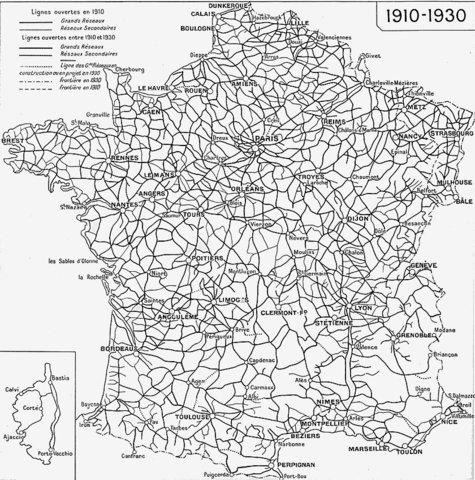 Etat du réseau en 1930