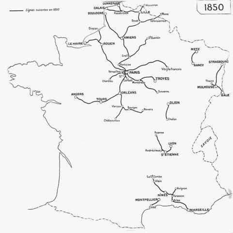 Etat du réseau en 1850