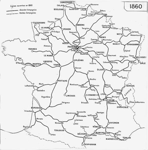 Etat du réseau en 1860