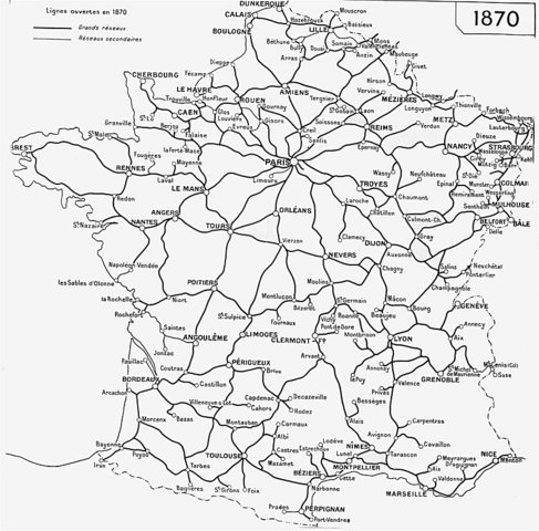 Etat du réseau en 1870