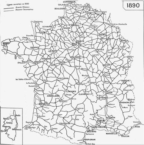 Etat du réseau en 1890