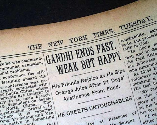 Gandhi Begins 21 Day Fast in Attempt to reconcile Hindus and Muslims