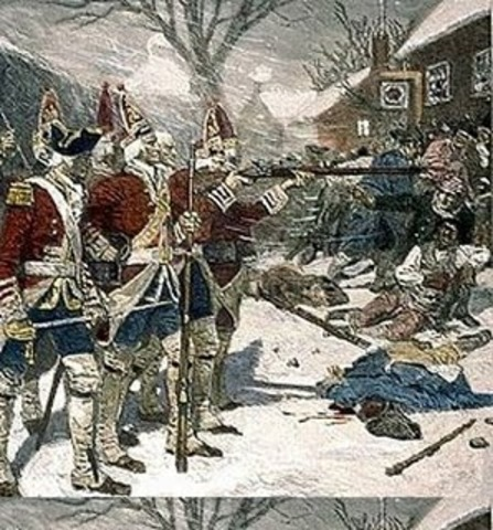 Hessian Mercenaries arrive to fight for British