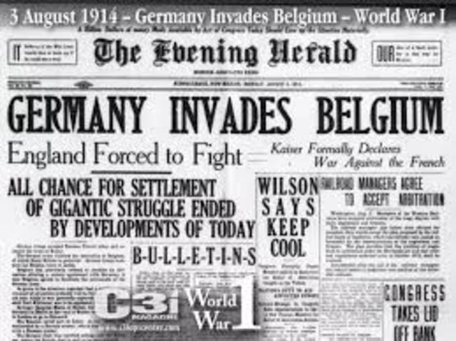 The beginning of World War I (World War I)