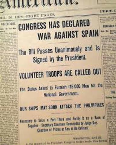 U.S Congress Declares War on Spain