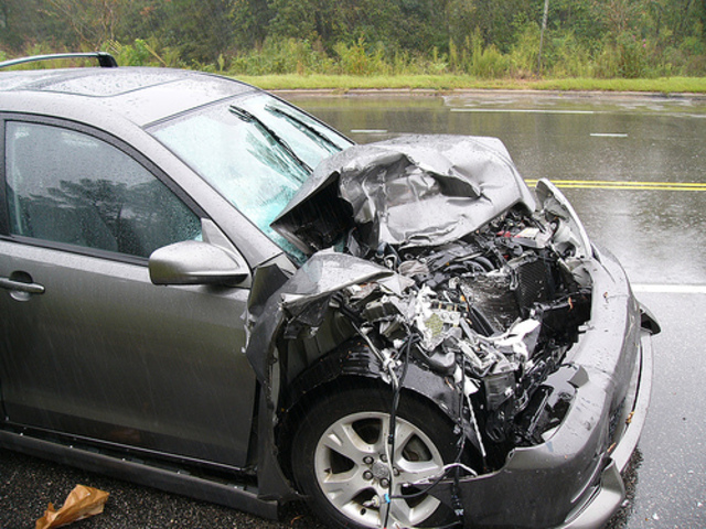 Mom gets in a car accident