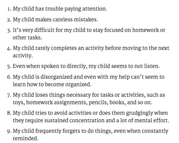 ADHD Check List!