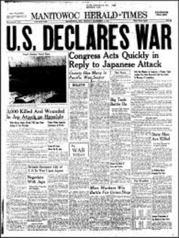 U.S. Declares War on Japan After Pearl Harbor