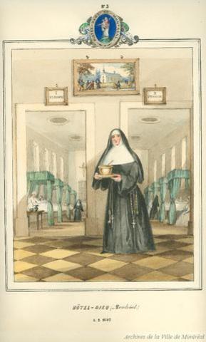 Construction du premier hôpital de Montréal: l'Hôtel-Dieu