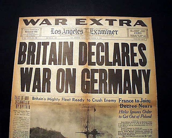Great Britain and France declare war on Germany.