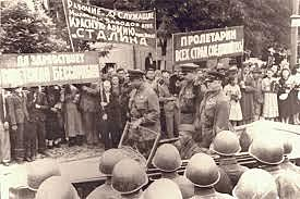 The Soviet Union forces Romania to cede the eastern province of Bessarabia and the northern half of Bukovina