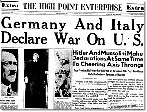 Germany and Italy declares war on the U.S