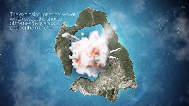 Erupción  del volcán  de Thera. Fin  de  la  época  minoica.