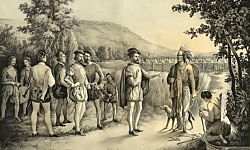 Jacques Cartier trades with the First Nations people of Newfoundland