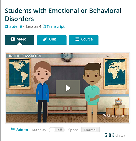 Emotional and Behavioral Disorders Video