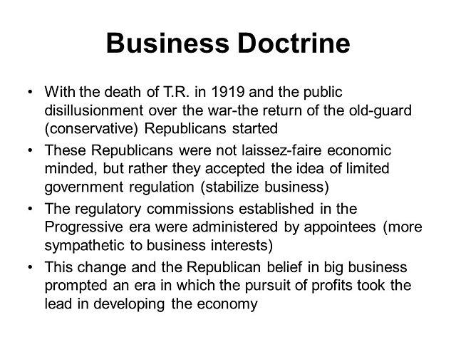 Politics: Business Doctrine