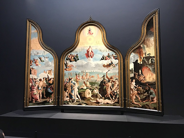 Drieluik met het laatste oordeel met op de buitenluiken De heiligen Petrus en Paulus.