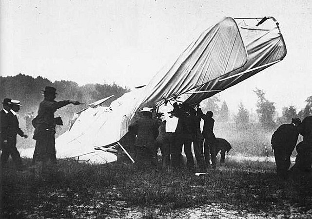 Orville Wright takes a machine into the sky