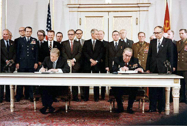 United States and Soviet Union sign a SALT 2 agreement