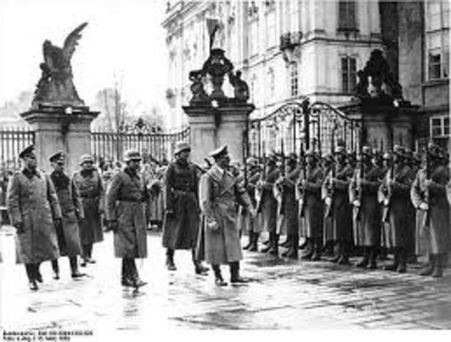 Czechoslovakia falls to Hitler.