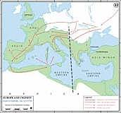Roman Empire divided in 2 by Diocletian