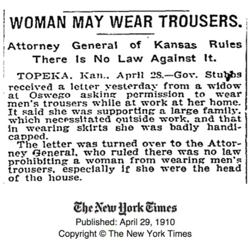 Women gain the 'explicit' legal right to wear pants in Kansas