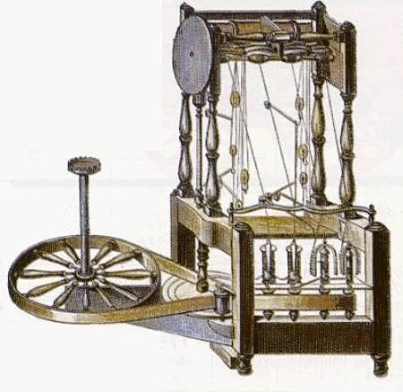 Presentación de la máquina de telar hidráulica (water frame).