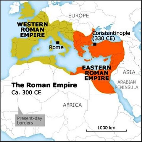 Romerriket deles i et østlig og vestlig rike