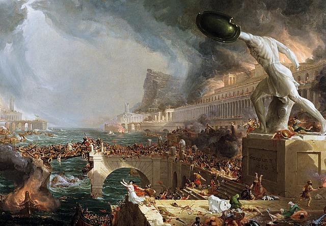 Vestromerriket faller sammen. Folkevandringstida begynner