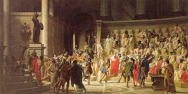 El senado encarga a Pompeyo la defensa de la República frente a César