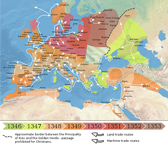 Svartedauden når Europa