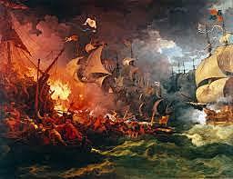 Spanske armada taper sjøslaget utenfor England