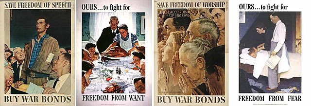 """Roosevelt gave his """"Four Freedoms"""" speech."""