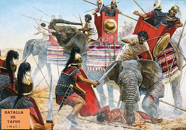 Triunfo de César en Tapso sobre los Pompeyistas