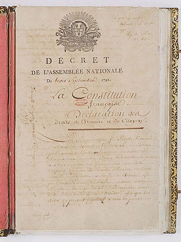 Primer Constitución Francesa (1791)