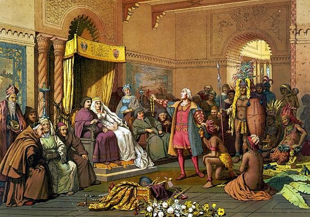 Colón fue recibido en Barcelona por los reyes.