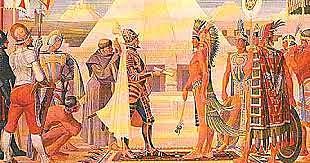 Encuentro de Hernán Cortes con Moctezuma.