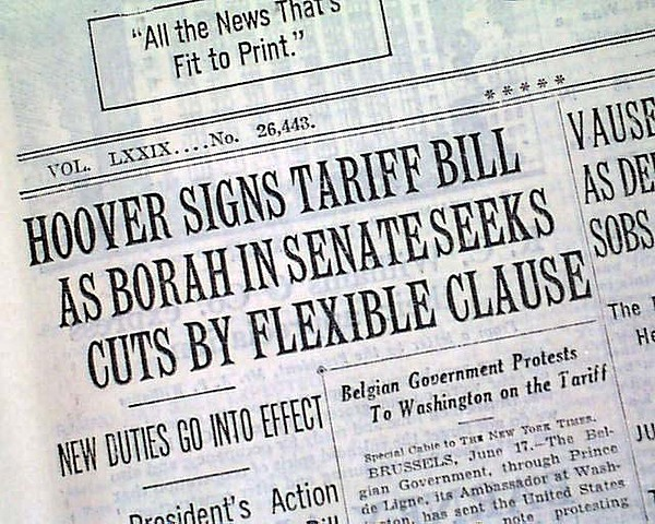 Hoover Signs Smoot-Hawely Tarrif Act