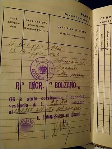 Indennità vestiario R. Incr. Bolzano