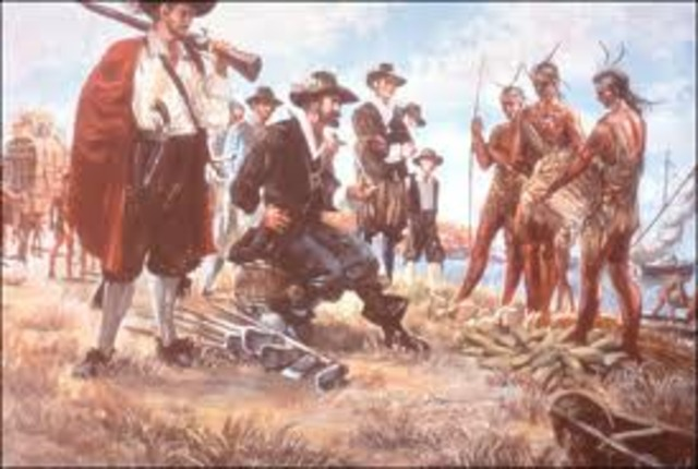 Pocahontas First sees the Jamestown Virginia colonists.