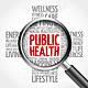 62411669 salud pública nube de la palabra con la lupa la salud cruz ilustración del concepto 3d