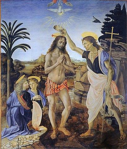 The Baptism of Christ by Andrea del Verrocchio and Leonardo da Vinci