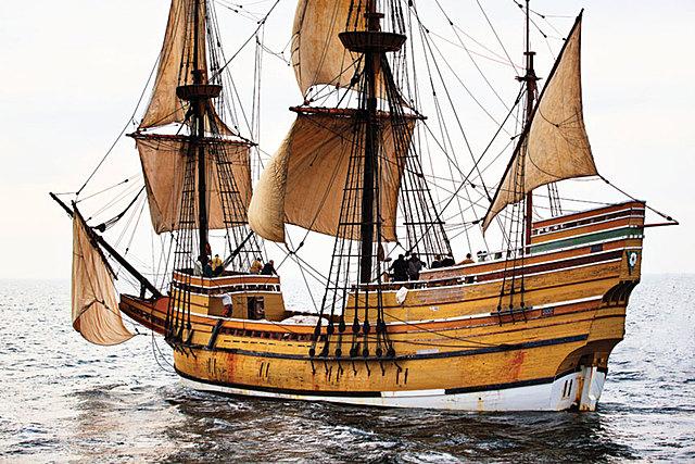 Pilgim's sail to Cape Cod on the Mayflower