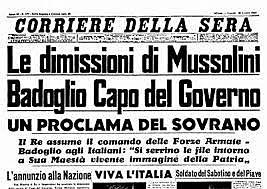Mussolini fu costretto a dare le dimissioni