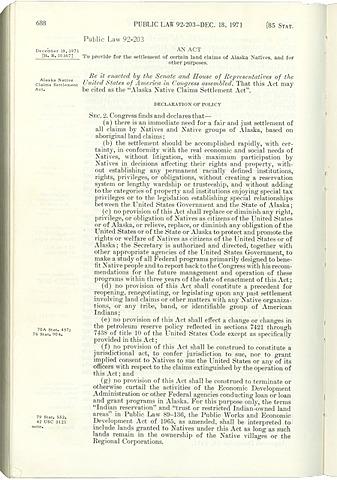 U.S. settles Alaska Native land claims: 1971