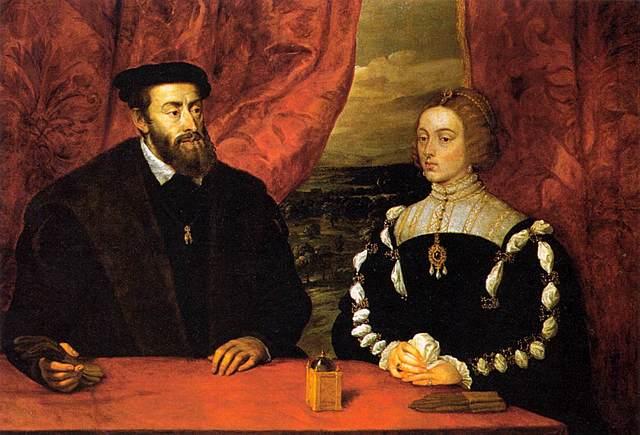 11 de marzo de 1526: Carlos e Isabel se casan en Sevilla, ella con 22 y él con 26 años. Ella aportó 900.000 doblas como dote, y Carlos 300.000 junto a múltiples señoríos.