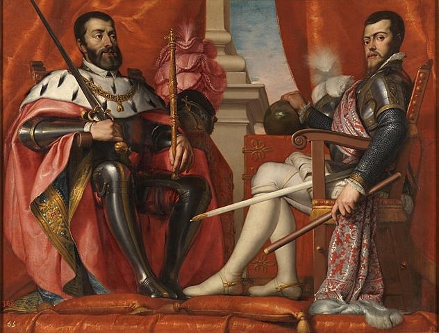 1554/1555/1556: Felipe II obtiene de su padre la corona de Nápoles y el ducado de Milán,tras casarse con María Tudor es rey consorte de Inglaterra, y Carlos abdicó en favor de Felipe II, que recibió los Países Bajos, Sicilia, Castilla y Aragón.