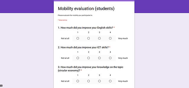 Συμπλήρωση ερωτηματολογίου αυτοαξολόγησης κινητικότητας