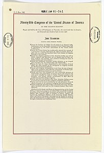 American Indian freedom of religion legalized: 1978